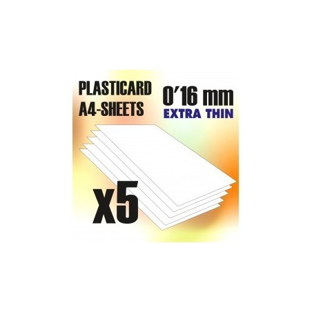 PLASTICARD ABS  0.16 mm  5 sheets size A4