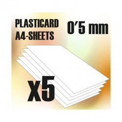 PLASTICARD ABS  0.5 mm  5 sheets size A4
