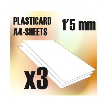 PLASTICARD ABS  1,5 mm  3 hojas tamaño A4