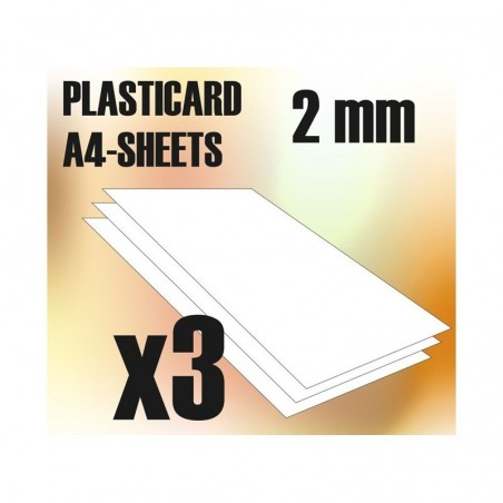 PLASTICARD ABS  2 mm  3 sheets size A4