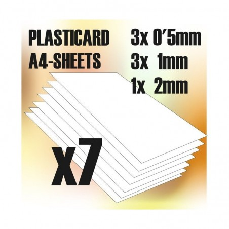 PLASTICARD ABS  MIX  7 sheets size A4