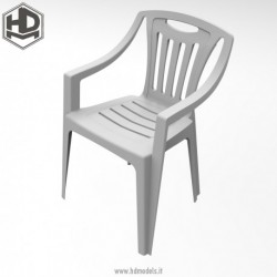 Resin chair with armrests